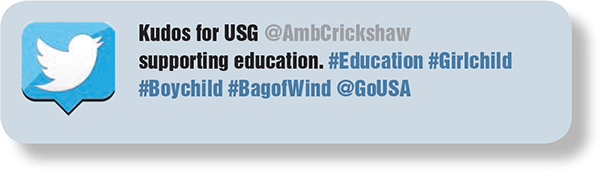 Kudos for USG @AmbCrickshaw supporting education. #Education #Girlchild #Boychild #BagofWind @GoUSA